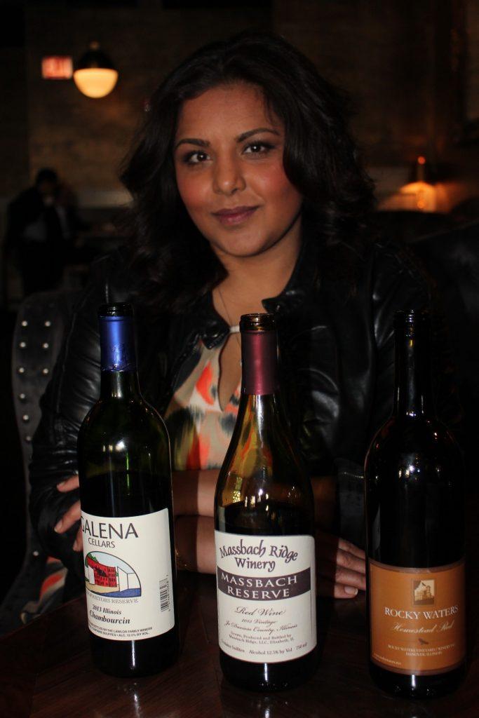 Singh and the three Illinois wines we tasted/Photo: David Hammond